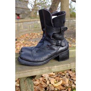VTG FROM Combat Moto Boots Black Leather Platform